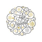 Feliz Navidad Spanish Merry Christmas calligraphy lettering and golden snowflake pattern on white background for greeting card des. Ign. Vector golden Christmas Royalty Free Stock Photo