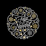 Feliz Navidad Spanish Merry Christmas calligraphy lettering and golden snowflake pattern on white background for greeting card des. Ign. Vector golden Christmas Stock Photography