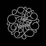 Feliz Navidad Spanish Merry Christmas flourish calligraphy lettering. Of swash line typography for greeting card design. Vector festive ornamental quote vector illustration