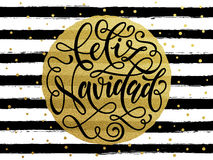 Feliz Navidad Spanish Merry Christmas gold glitter stripes. Feliz Navidad Spanish Merry Christmas gold glitter text for greeting card. Vector black stripes with Royalty Free Stock Photo