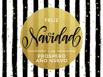 Feliz Navidad Spanish Merry Christmas gold glitter text. For greeting card. Vector black stripes with gold foil gilt circle Royalty Free Stock Photography