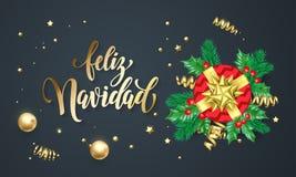 Feliz Navidad Spanish Merry Christmas golden decoration and gold font calligraphy greeting card design. Vector Christmas tree wrea. Th decoration, New Year Stock Photos
