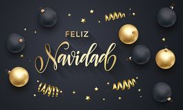Feliz Navidad Spanish Merry Christmas golden decoration, hand drawn calligraphy golden font for invitation black festive backgroun royalty free illustration