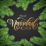 Feliz Navidad Spanish Merry Christmas golden hand drawn calligraphy in fir branch wreath decoration and Christmas golden text font. Vector winter New Year Royalty Free Stock Photography