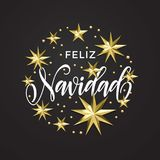 Feliz Navidad Spanish Merry Christmas golden star decoration and calligraphy font of Xmas holiday invitation greeting card. Vector stock illustration