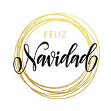 Feliz Navidad Spanish Merry Christmas greeting card golden glitter decoration. Spanish Merry Christmas Feliz Navidad gold greeting card. Golden sparkling Royalty Free Stock Photos