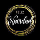 Feliz Navidad Spanish Merry Christmas greeting card golden glitter decoration. Spanish Merry Christmas Feliz Navidad gold greeting card. Golden sparkling Royalty Free Stock Photography