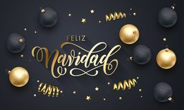 Feliz Navidad Spanish Merry Christmas guld- garnering, hand dragen guld- kalligrafistilsort för bakgrund för svart för hälsningko stock illustrationer