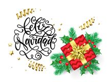 Feliz Navidad Spanish Merry Christmas Hand Drawn Calligraphy For Holiday Greeting Card Background Template. Vector Christmas Tree Royalty Free Stock Photography