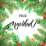 Feliz Navidad Spanish Merry Christmas hand drawn calligraphy and holly wreath decoration with golden stars garland frame for holid. Ay greeting card background Royalty Free Stock Image