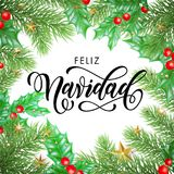 Feliz Navidad Spanish Merry Christmas hand drawn calligraphy in holly wreath decoration and Christmas stars garland. Vector winter. New Year holiday greeting Stock Photography