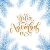 Feliz Navidad Spanish Merry Christmas hand drawn golden calligraphy in fir branch decoration and Christmas blue ice garland. Vecto. R winter New Year holiday Stock Images