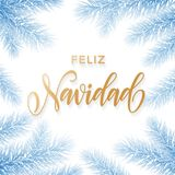 Feliz Navidad Spanish Merry Christmas holiday golden hand drawn calligraphy text for greeting card of frozen blue snow branch and Stock Images