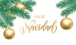 Feliz Navidad Spanish Merry Christmas holiday golden hand drawn calligraphy text for greeting card of star ornament decoration on. Christmas tree branch. Vector Royalty Free Stock Image