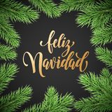 Feliz Navidad Spanish Merry Christmas holiday golden hand drawn calligraphy text for greeting card of wreath decoration and Christ. Mas fir garland. Vector Royalty Free Stock Image