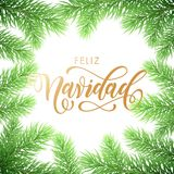 Feliz Navidad Spanish Merry Christmas holiday golden hand drawn calligraphy text for greeting card of wreath decoration and Christ. Mas fir garland. Vector Stock Images