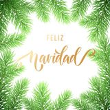Feliz Navidad Spanish Merry Christmas holiday golden hand drawn calligraphy text for greeting card of wreath decoration and Christ. Mas fir garland. Vector Royalty Free Stock Photo