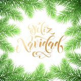Feliz Navidad Spanish Merry Christmas holiday golden hand drawn calligraphy text for greeting card of wreath decoration and Christ. Mas fir garland. Vector Royalty Free Stock Photography