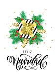 Feliz Navidad Spanish Merry Christmas holiday hand drawn calligraphy text for greeting card background design template. Vector gif. T on Christmas tree holly Stock Photo