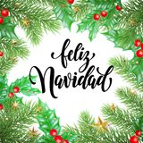 Feliz Navidad Spanish Merry Christmas holiday hand drawn calligraphy text for greeting card of wreath decoration and Christmas sta. Rs garland frame. Vector Stock Image