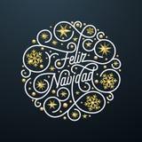 Feliz Navidad Spanish Merry Christmas kalligrafibokstäver och guld- garnering för snöflingastjärnamodell på vit bakgrund för G vektor illustrationer