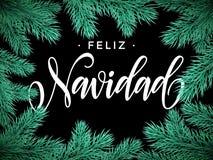 Feliz Navidad Spanish Merry Christmas text greeting card. Spanish Merry Christmas Feliz Navidad Festive Christmas greeting card with fir tree branches frame on Stock Photos