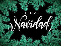 Feliz Navidad Spanish Merry Christmas text greeting card Stock Photos