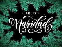 Feliz Navidad Spanish Merry Christmas text greeting card Stock Images