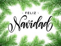 Feliz Navidad spanish Merry Christmas tree branches. Feliz Navidad y Prospero Ano Nuevo spanish Merry Christmas and Happy New Year in frame of tree branches Royalty Free Stock Photography