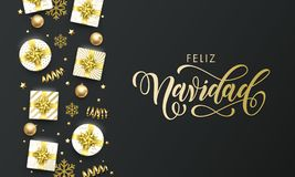 Feliz Navidad Spansih Merry Christmas golden greeting card on premium black background. Vector Christmas calligraphy lettering, gi vector illustration