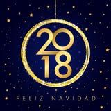 2018 Feliz Navidad szczęśliwego nowego roku piłki złota karta Fotografia Royalty Free