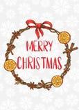 Feliz Navidad Tarjeta con una guirnalda festiva libre illustration