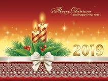 Feliz Navidad 2019 Tarjeta de Navidad con las velas stock de ilustración