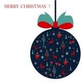 Feliz Navidad, tarjeta de Navidad con los iconos foto de archivo libre de regalías