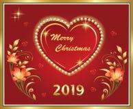 Feliz Navidad 2019 Tarjeta de felicitación con el corazón ilustración del vector