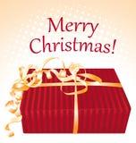 Feliz Navidad. Tarjeta de felicitación de la caja de regalo. Imágenes de archivo libres de regalías