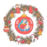 Feliz Navidad Tarjeta de felicitación del vector Guirnalda de árboles de navidad ilustración del vector