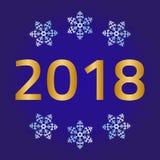 Feliz Navidad, tarjeta de felicitación de la Feliz Año Nuevo en fondo azul Foto de archivo