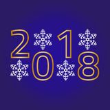 Feliz Navidad, tarjeta de felicitación de la Feliz Año Nuevo en fondo azul Foto de archivo libre de regalías