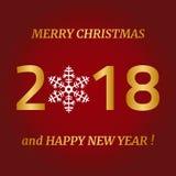 Feliz Navidad, tarjeta de felicitación de la Feliz Año Nuevo en fondo rojo Imagen de archivo