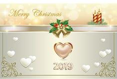 Feliz Navidad 2019 Tarjeta de felicitación de la Navidad con los corazones Ilustración del vector ilustración del vector