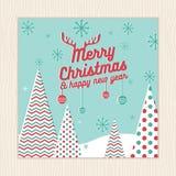 Feliz Navidad, tarjeta de la Feliz Año Nuevo o plantilla del cartel con el fondo del árbol de navidad en vector verde del color d Imagen de archivo libre de regalías