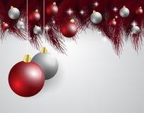 Feliz Navidad, tarjeta del Año Nuevo y decoración del brillo ROJO Y BLANCO Fotos de archivo