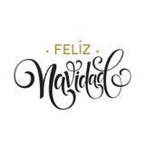 Feliz Navidad-tekst van de hand de van letters voorziende decoratie voor het ontwerpmalplaatje van de groetkaart Het vrolijke eti stock illustratie