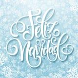 Feliz Navidad-tekst van de hand de van letters voorziende decoratie voor het ontwerpmalplaatje van de groetkaart Het vrolijke eti Stock Fotografie