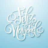 Feliz Navidad-tekst van de hand de van letters voorziende decoratie voor het ontwerpmalplaatje van de groetkaart Het vrolijke eti Stock Foto