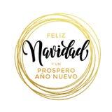 Feliz Navidad, texte de Prospero Ano Nuevo Spanish New Year Christmas Photographie stock libre de droits
