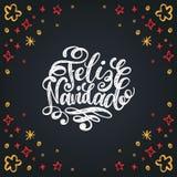 Feliz Navidad translated from spanish Merry Christmas hand lettering on festive background.. Happy Holidays typography. Feliz Navidad translated from spanish Royalty Free Illustration