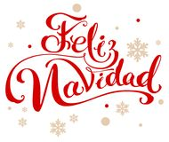 Feliz navidad translation from Spanish Merry Christmas. Lettering calligraphy text for greeting card. Isolated on white vector illustration Royalty Free Stock Photos