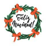Feliz Navidad - uttryck för kalligrafi för ferie för bokstäverjul och för nytt år vektor illustrationer
